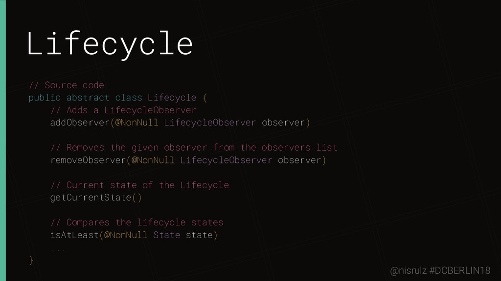 Lifecycle // Source code public abstract class ...