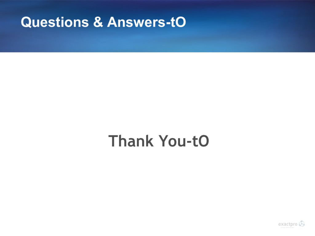 Questions & Answers-tO Thank You-tO
