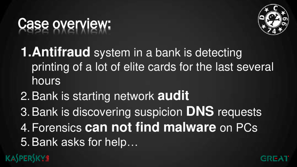 Case overview: 1.Antifraud system in a bank is ...
