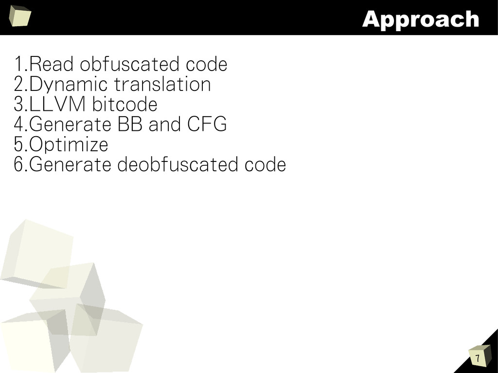 7 Approach 1.Read obfuscated code 2.Dynamic tra...