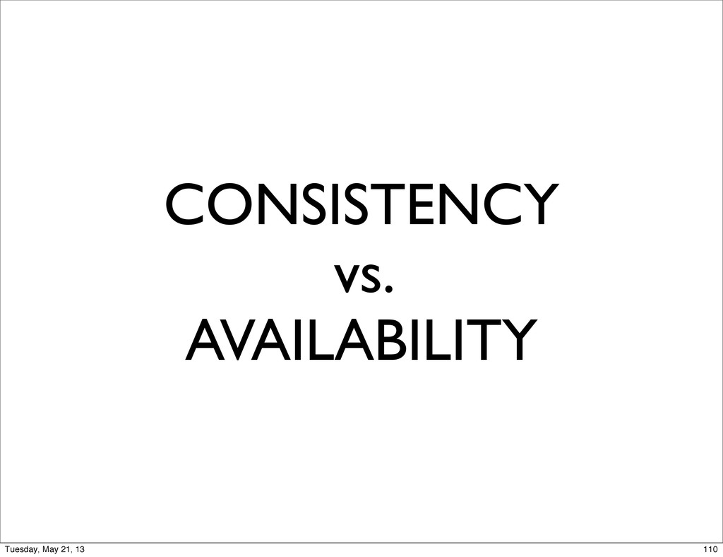 CONSISTENCY vs. AVAILABILITY 110 Tuesday, May 2...