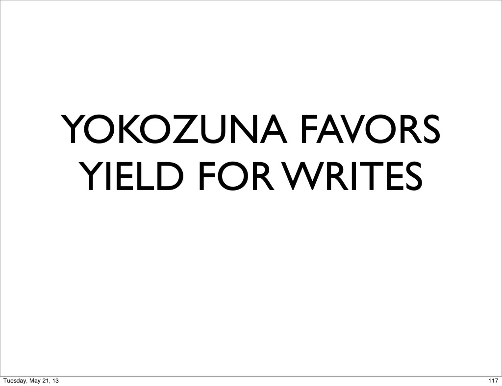 YOKOZUNA FAVORS YIELD FOR WRITES 117 Tuesday, M...