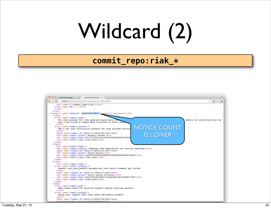 Wildcard (2) commit_repo:riak_* NOTICE COUNT IS...