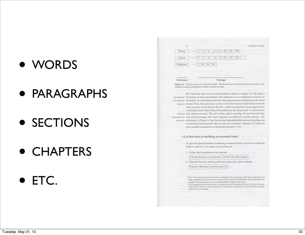 • WORDS • PARAGRAPHS • SECTIONS • CHAPTERS • ET...