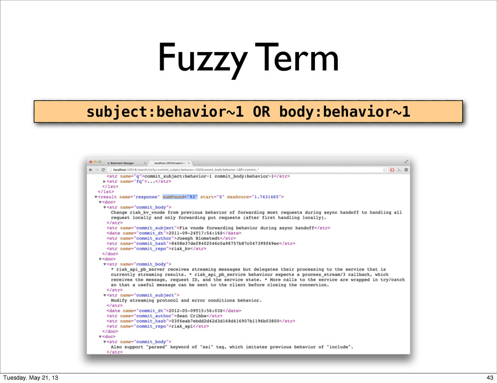Fuzzy Term subject:behavior~1 OR body:behavior~...