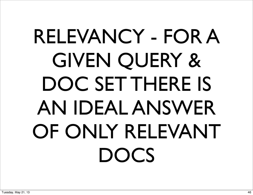 RELEVANCY - FOR A GIVEN QUERY & DOC SET THERE I...