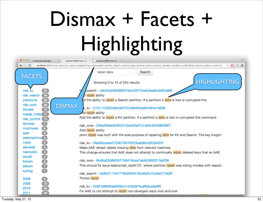 Dismax + Facets + Highlighting FACETS HIGHLIGHT...