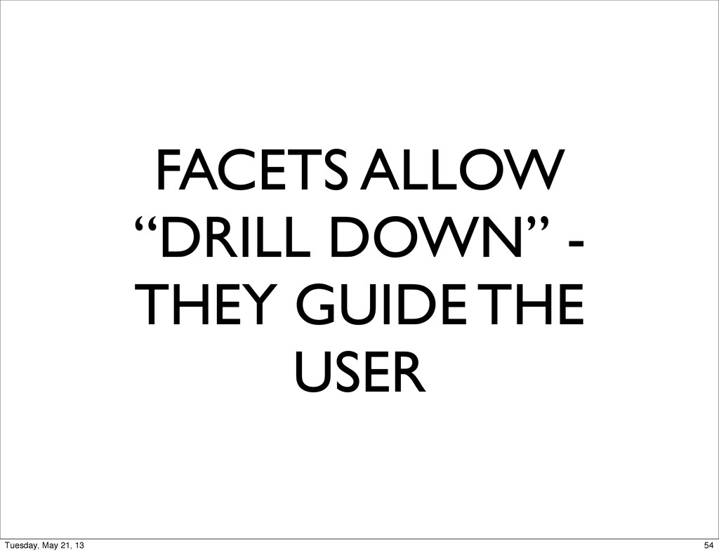 "FACETS ALLOW ""DRILL DOWN"" - THEY GUIDE THE USER..."