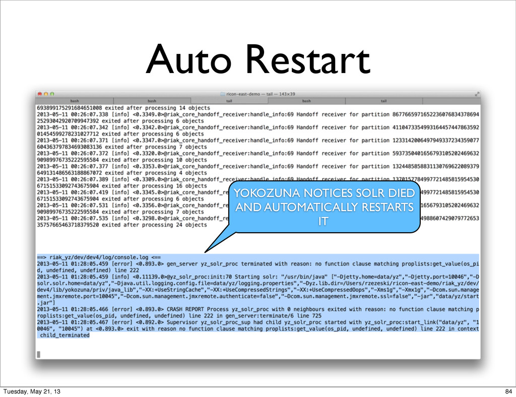 Auto Restart YOKOZUNA NOTICES SOLR DIED AND AUT...