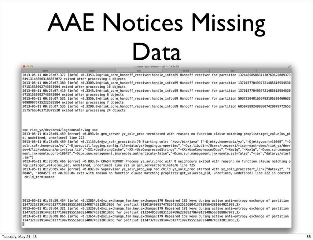 AAE Notices Missing Data 86 Tuesday, May 21, 13
