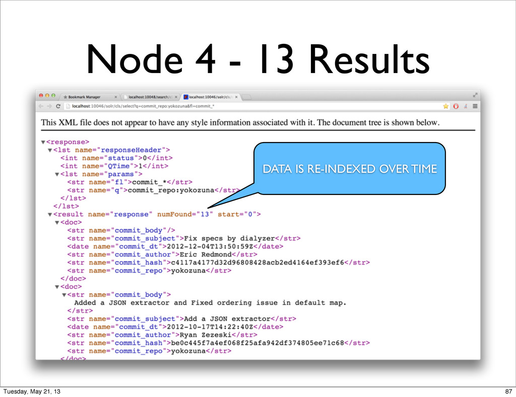 Node 4 - 13 Results DATA IS RE-INDEXED OVER TIM...