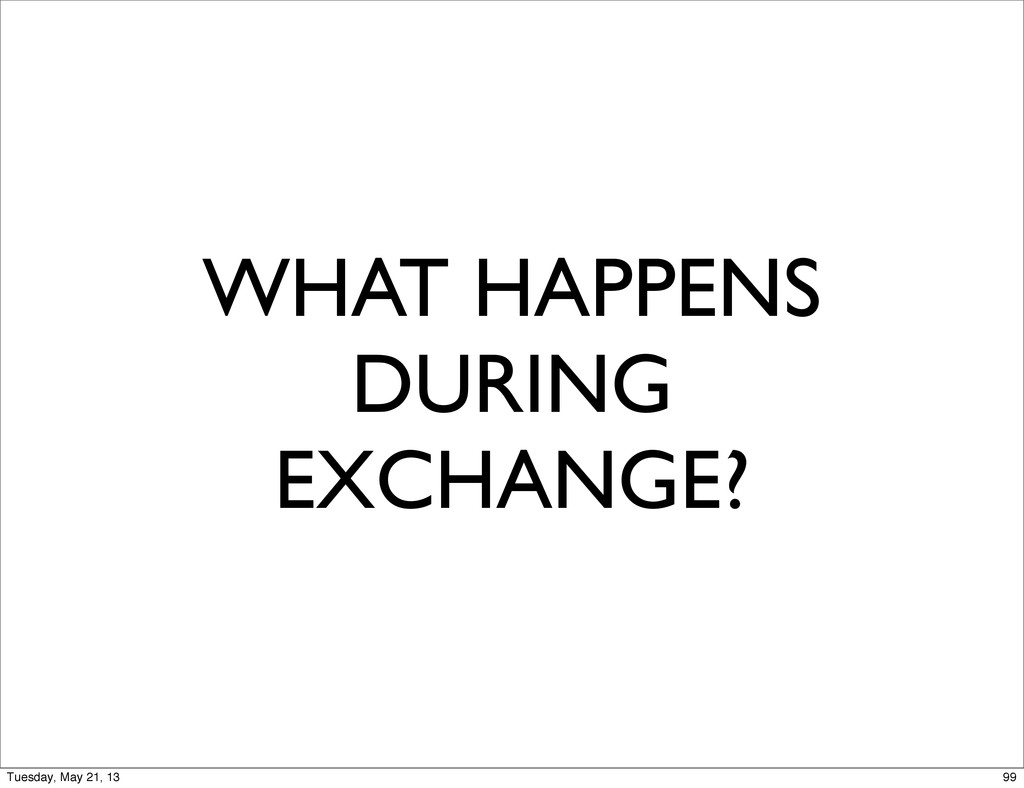 WHAT HAPPENS DURING EXCHANGE? 99 Tuesday, May 2...
