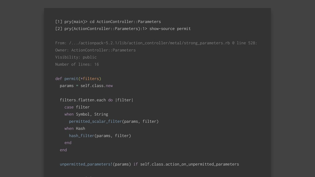 [1] pry(main)> cd ActionController::Parameters ...