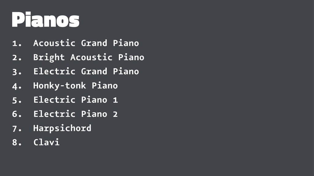 Pianos 1. Acoustic Grand Piano 2. Bright Acoust...