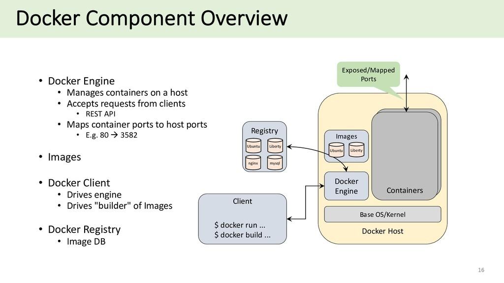 Docker Component Overview 16 • Docker Engine • ...