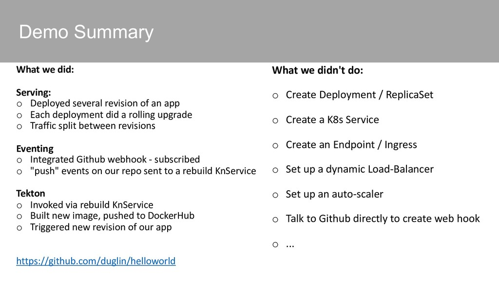 Demo Summary What we did: Serving: o Deployed s...