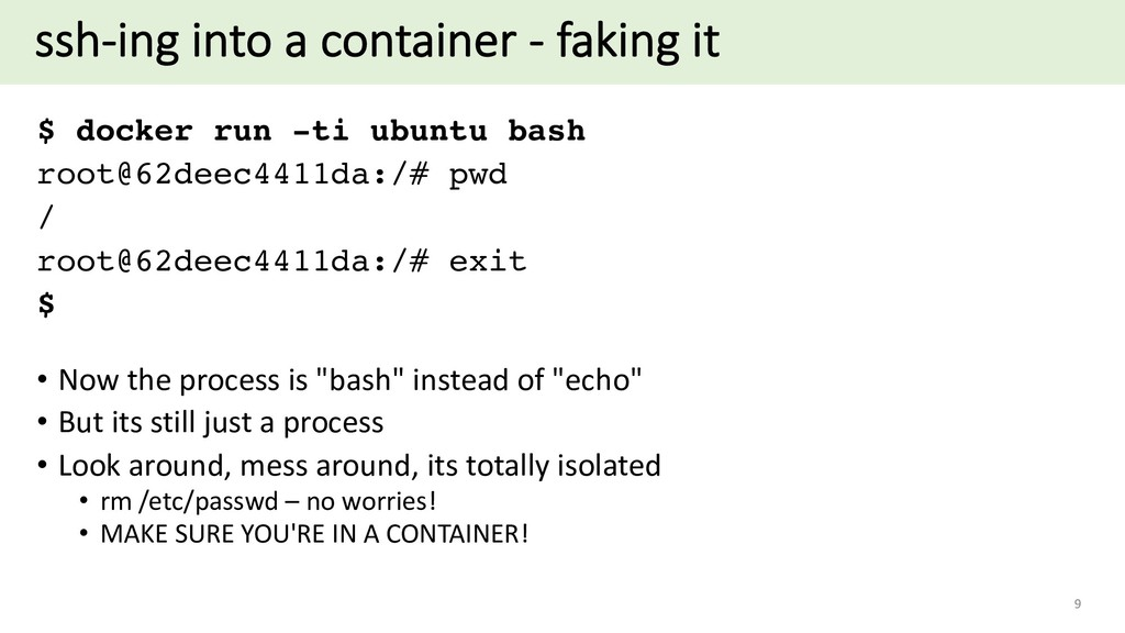 ssh-ing into a container - faking it $ docker r...