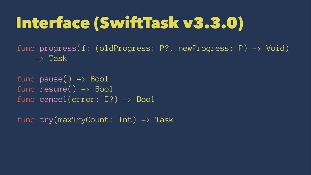 Interface (SwiftTask v3.3.0) func progress(f: (...