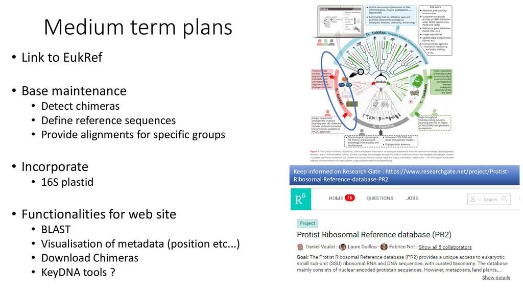 Medium term plans • Link to EukRef • Base maint...