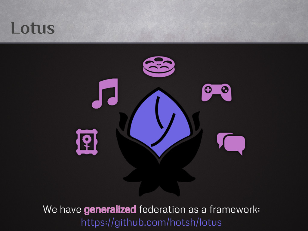 Lotus We have generalized federation as a frame...