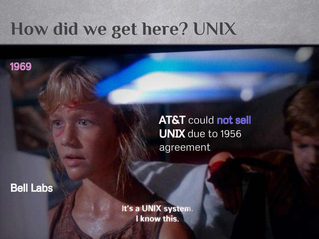 How did we get here? UNIX 1969 AT&T could not s...