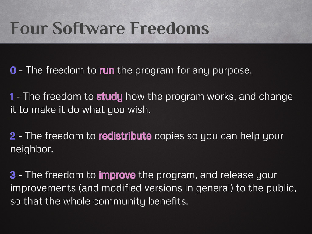 Four Software Freedoms 0 - The freedom to run t...