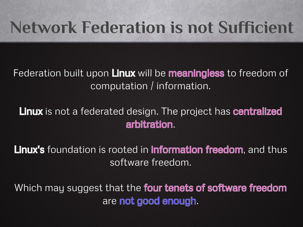 Network Federation is not Sufficient Federation...