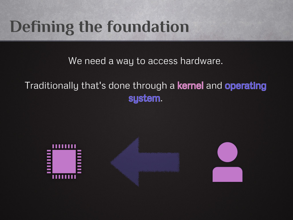 Defining the foundation We need a way to access...