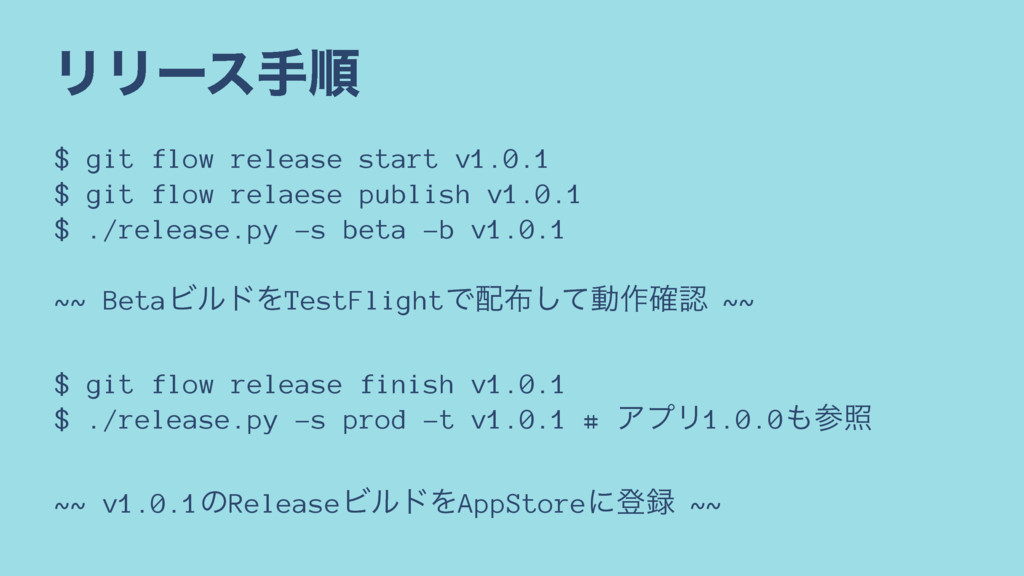 ϦϦʔεखॱ $ git flow release start v1.0.1 $ git fl...