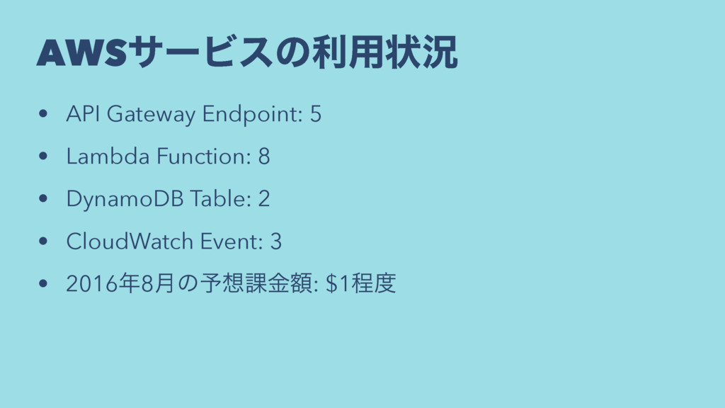 AWSαʔϏεͷར༻ঢ়گ • API Gateway Endpoint: 5 • Lambda...