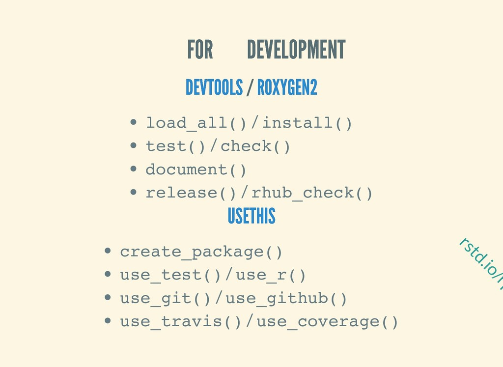 rstd.io/rp FOR DEVELOPMENT FOR DEVELOPMENT / / ...