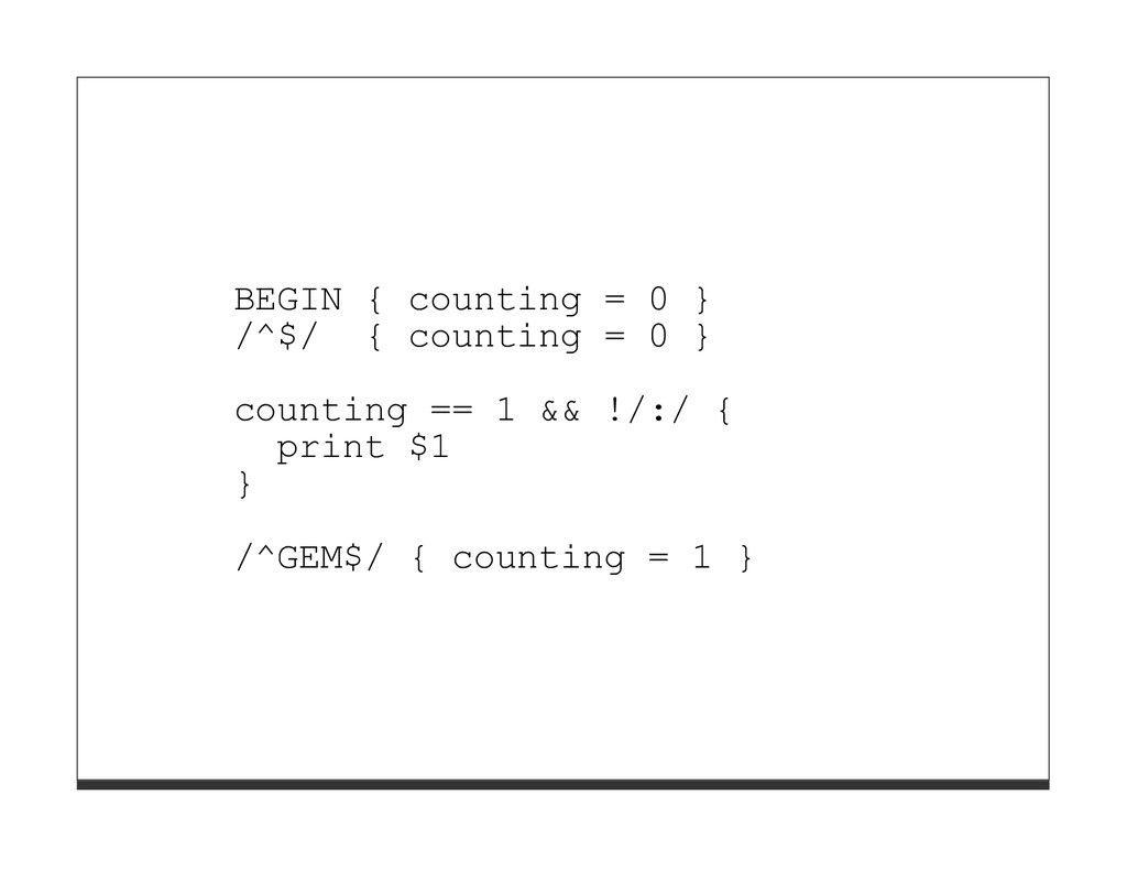 BEGIN { counting = 0 } /^$/ { counting = 0 } co...