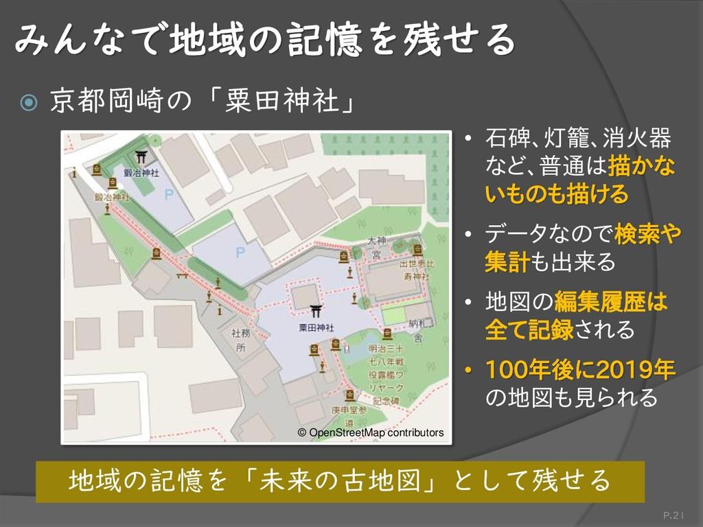 みんなで地域の記憶を残せる  京都岡崎の「粟田神社」 P.21 • 石碑、灯籠、消火器 など...