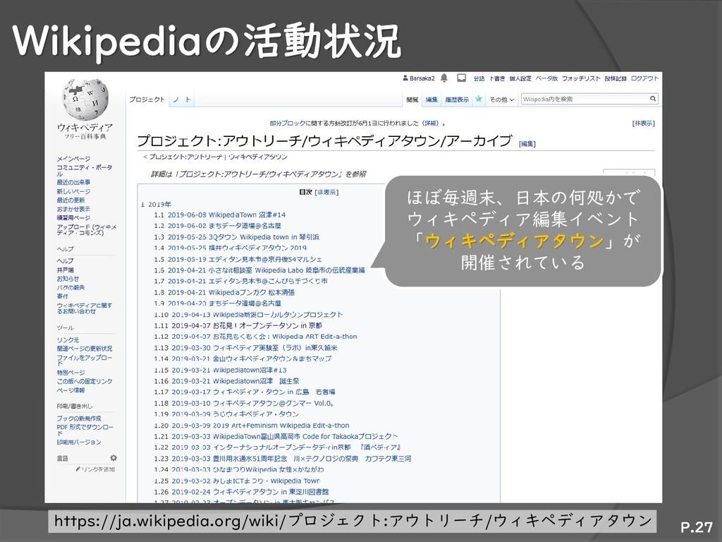 Wikipediaの活動状況 P.27 ほぼ毎週末、日本の何処かで ウィキペディア編集イベント...