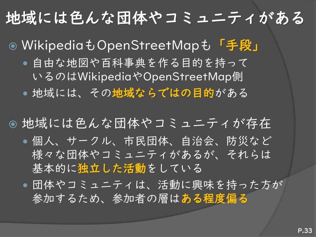 地域には色んな団体やコミュニティがある  WikipediaもOpenStreetMapも「...