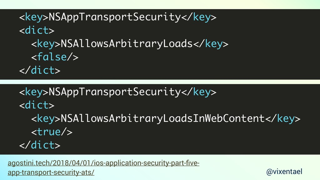 <key>NSAppTransportSecurity</key> <dict> <key>N...