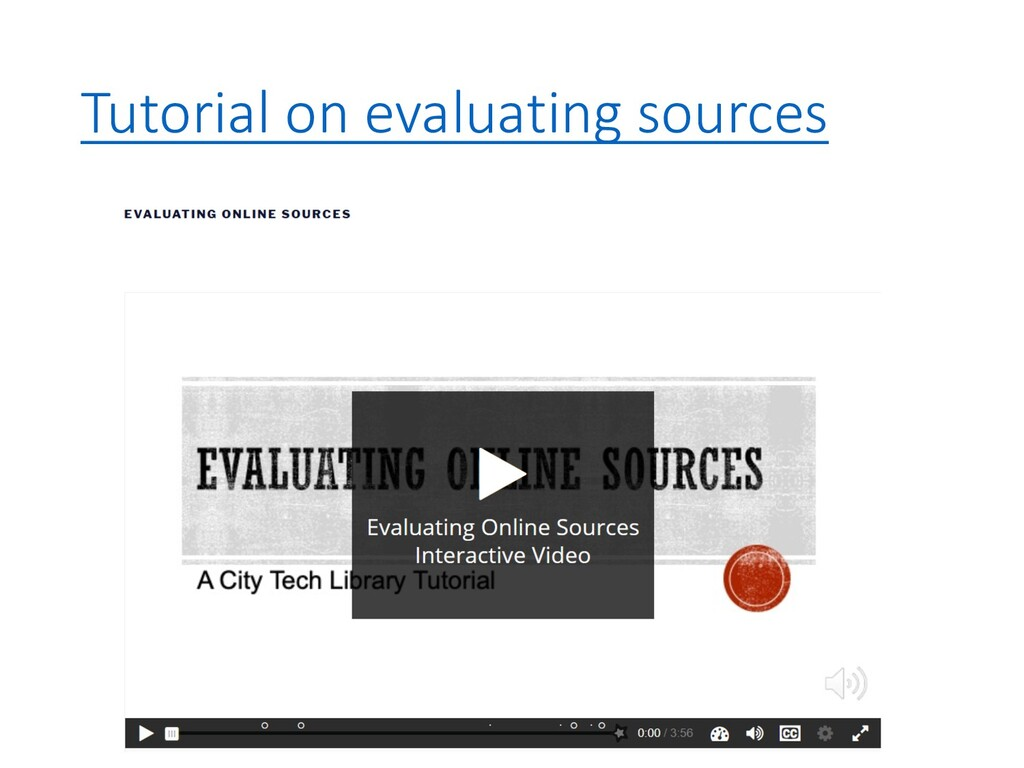 Tutorial on evaluating sources