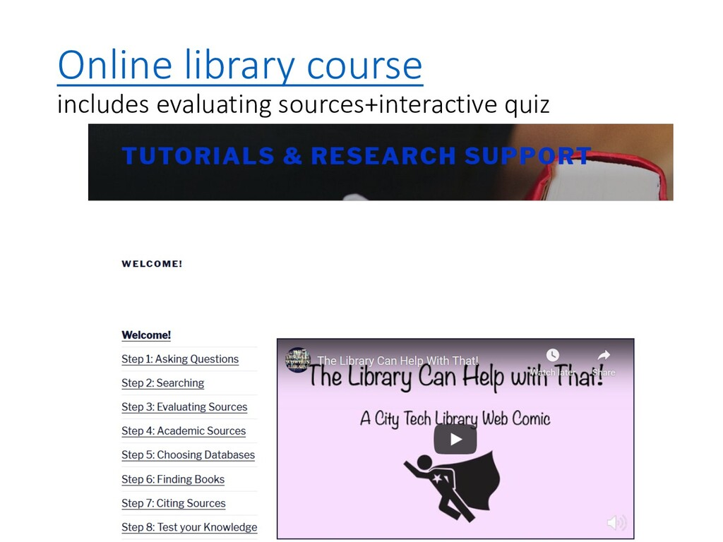 Online library course includes evaluating sourc...