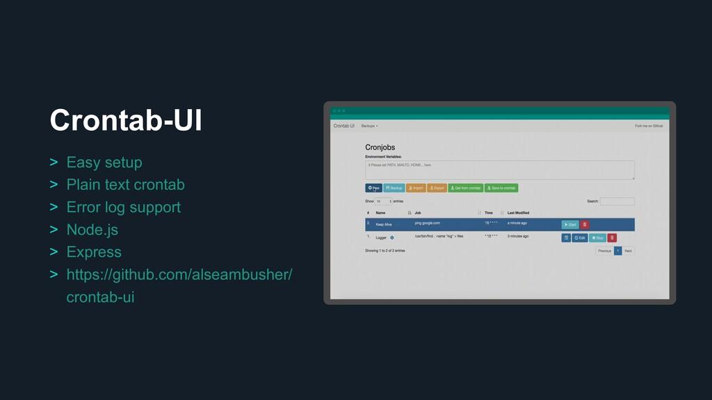 Crontab-UI Ƃ > Easy setup > Plain text crontab ...