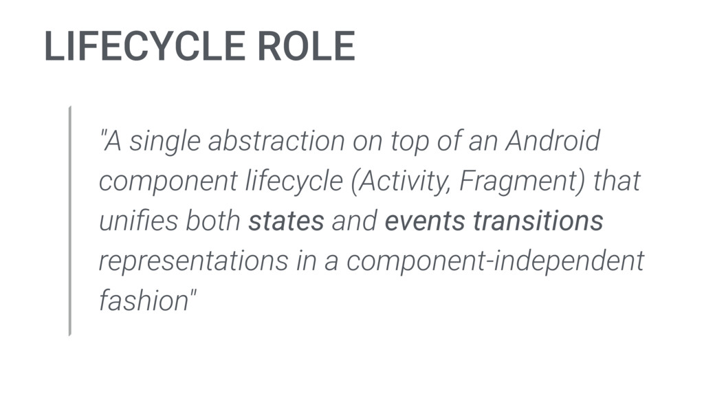 "LIFECYCLE ROLE ""A single abstraction on top of ..."