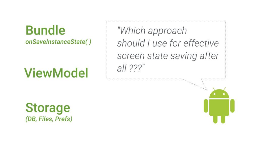 ViewModel Bundle onSaveInstanceState( ) Storage...