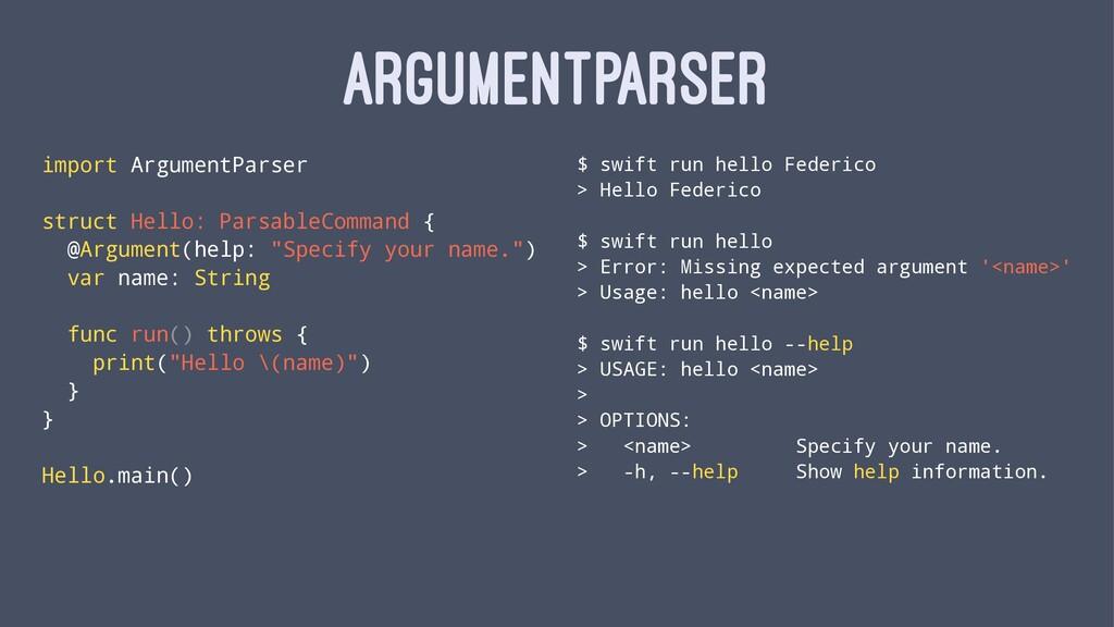 ARGUMENTPARSER import ArgumentParser struct Hel...