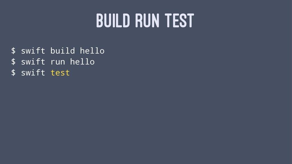 BUILD RUN TEST $ swift build hello $ swift run ...