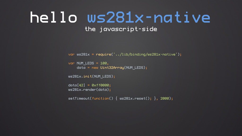 hello ws281x-native var ws281x = require('../li...