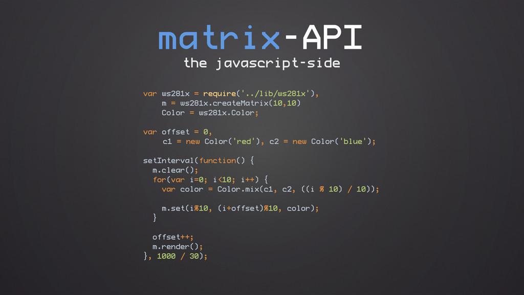 matrix-API var ws281x = require('../lib/ws281x'...