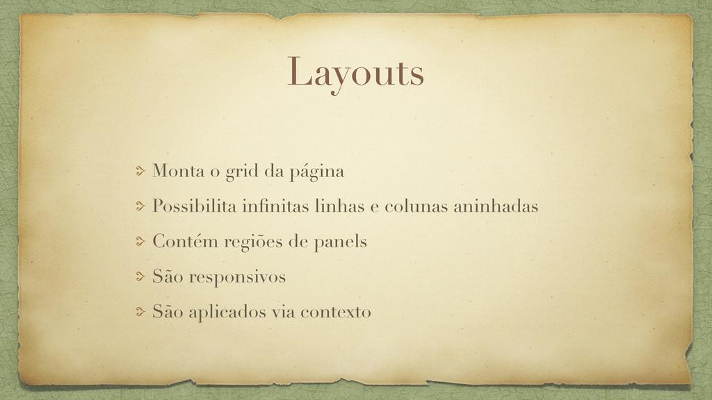 Layouts Monta o grid da página Possibilita infin...