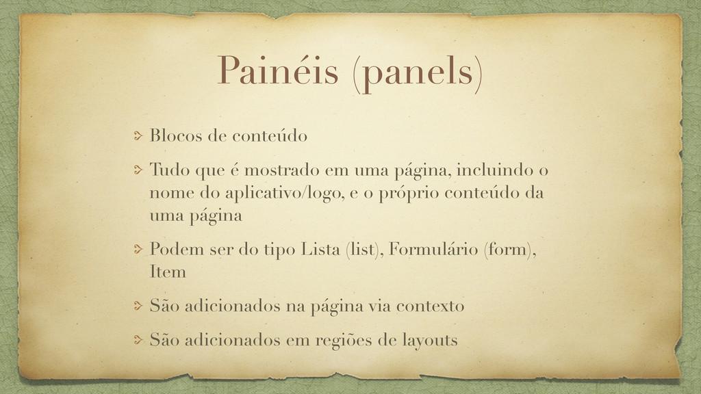 Painéis (panels) Blocos de conteúdo Tudo que é ...