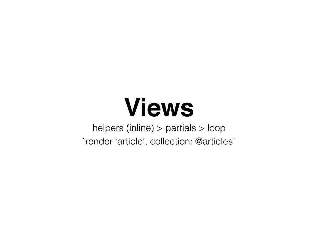 Views! helpers (inline) > partials > loop `rend...