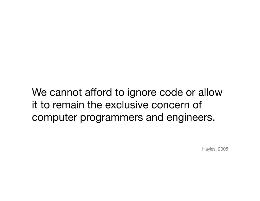 We cannot afford to ignore code or allow it to r...