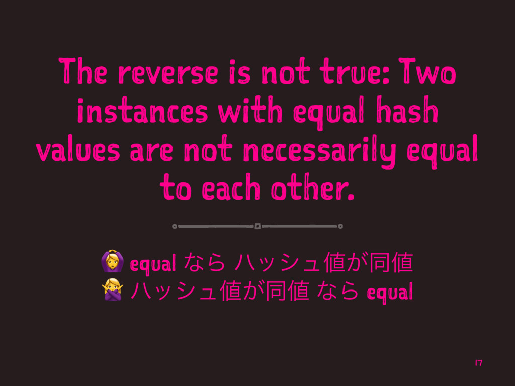 The reverse is not true: Two instances with equ...